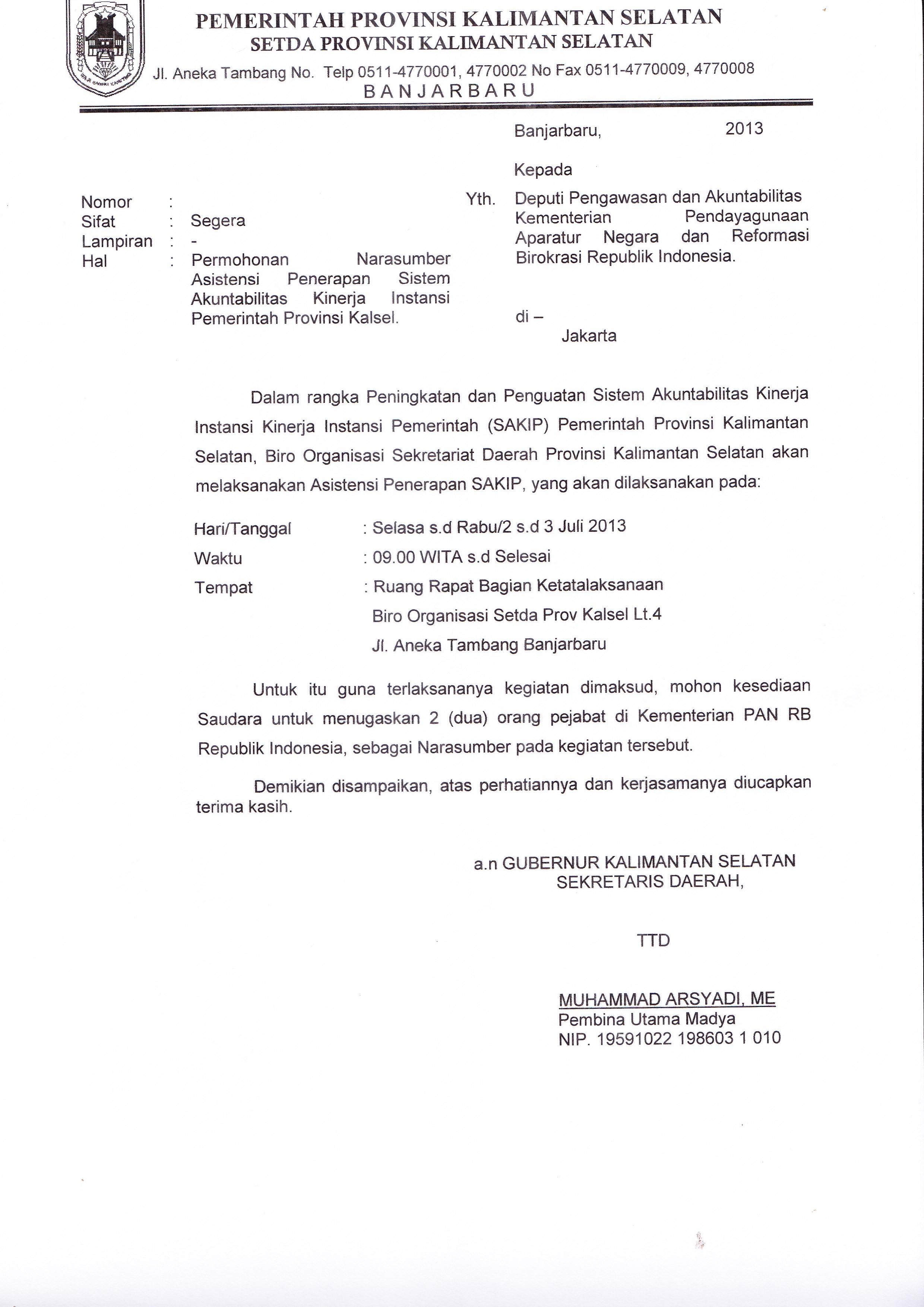 Contoh Surat Biasa Tatalaksana Kalsel