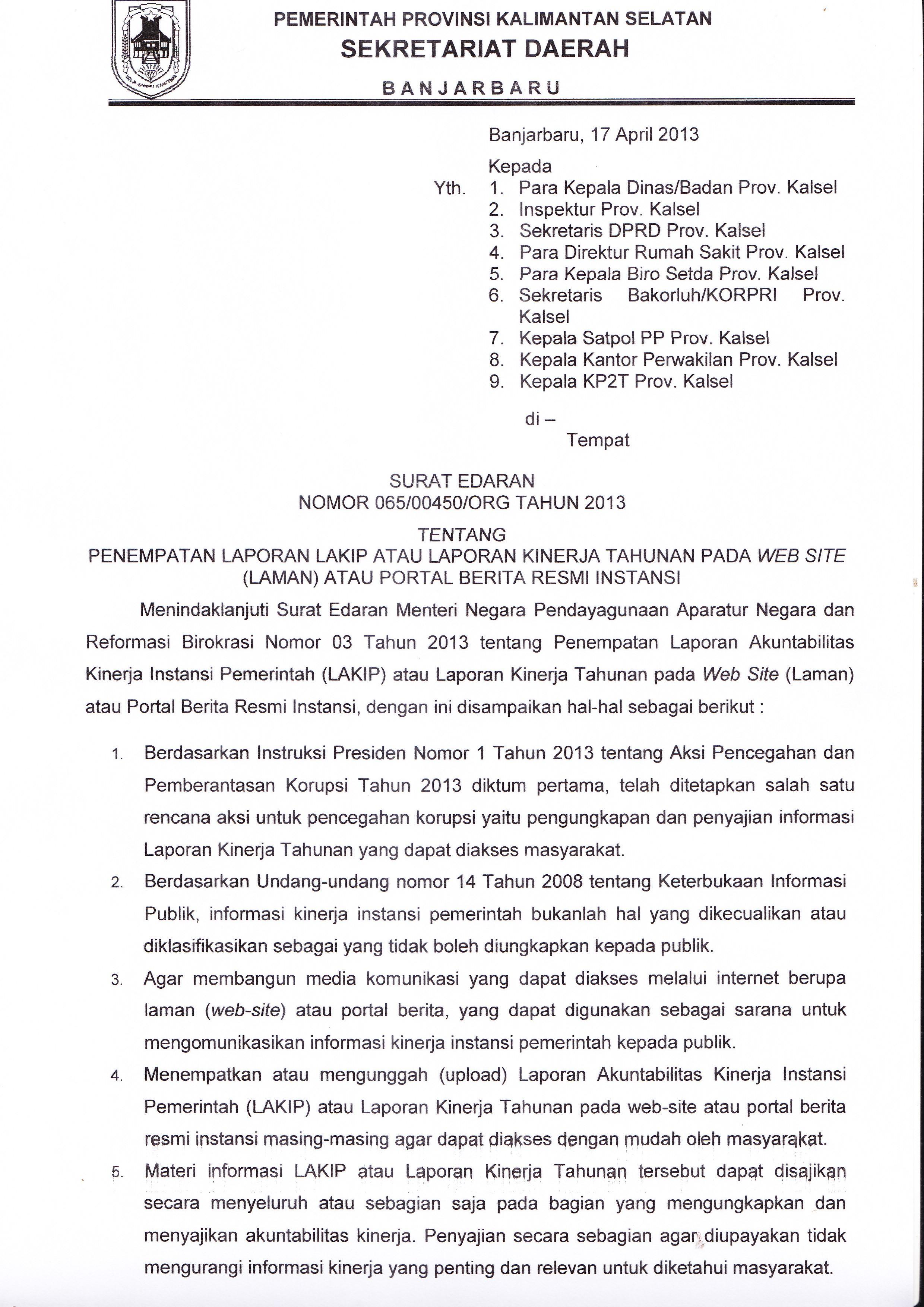 Contoh Surat Edaran Tatalaksana Kalsel