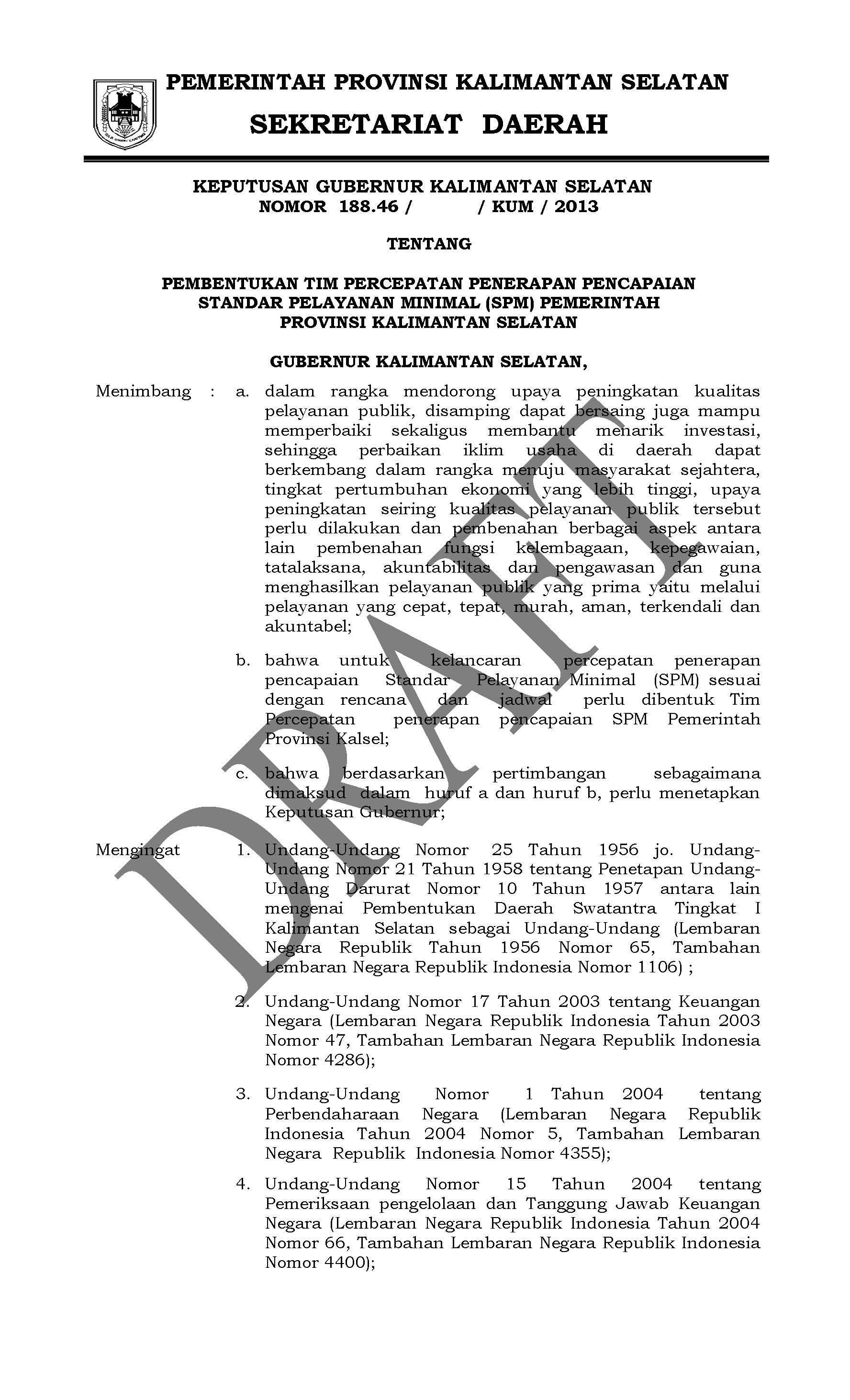 Contoh Rancangan Surat Keputusan Tentang Pembentukan Tim