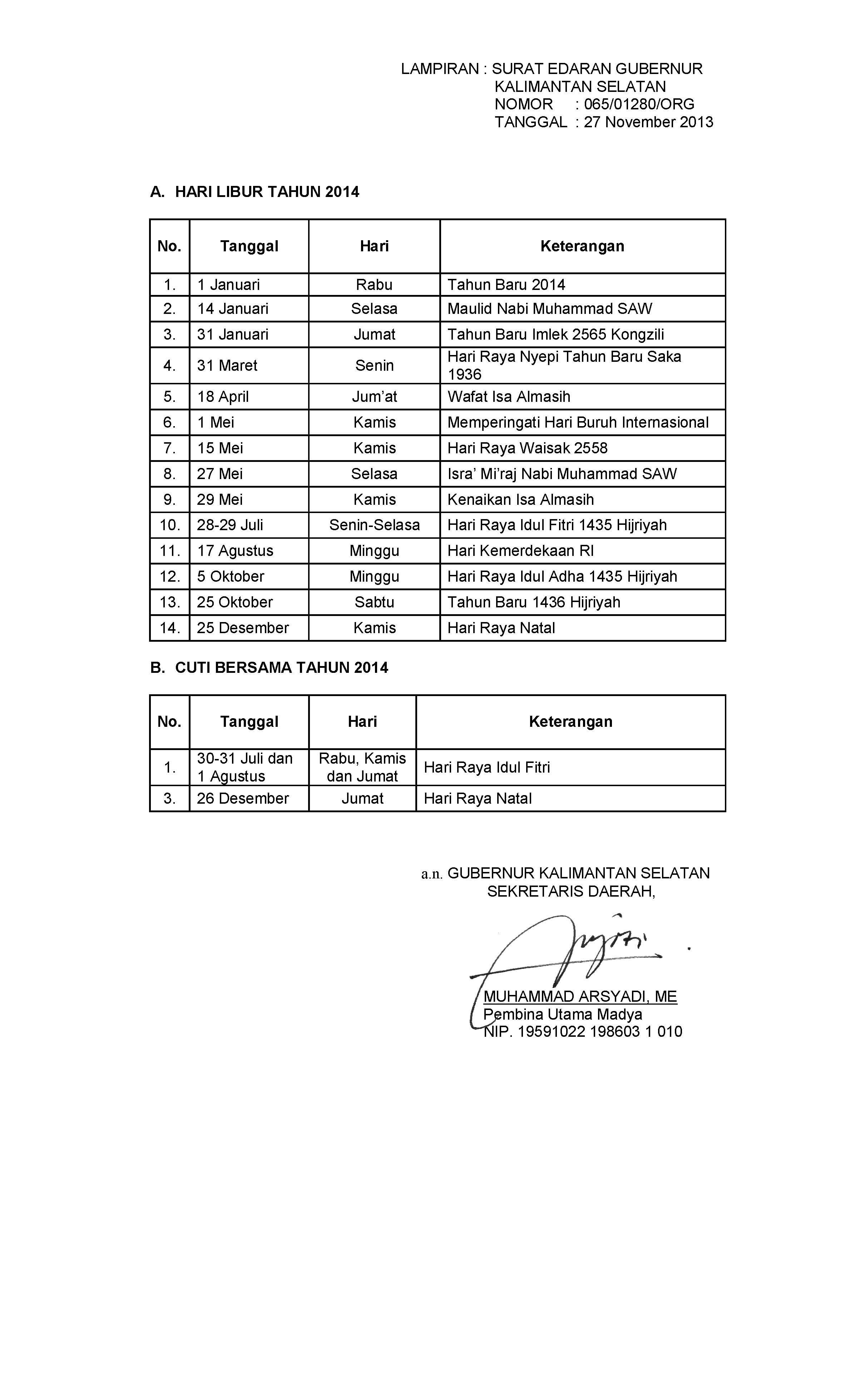 Surat Edaran Nomor 065/01280/ORG Tahun 2013 Tentang Hari